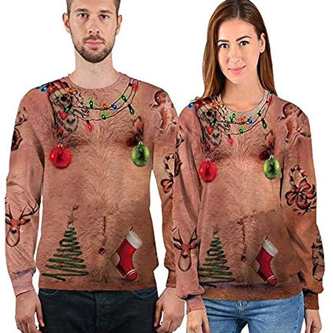 Christmas Sudaderas sin Capucha Jumpers, Sudaderas Divertidas para Hombre para Mujer Unisex Ugly Sweater 3D imprimió Xmas Graphic Jersey Santa: Amazon.es: ...