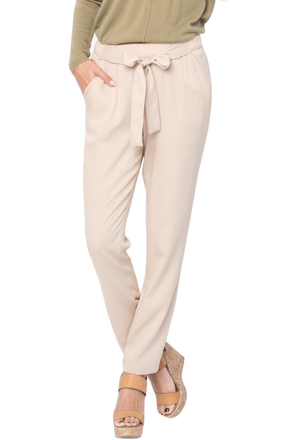 EastLife Womens High Waist Casual Pants Stretch Straight Long Trousers with Pockets (Small, Khaki)