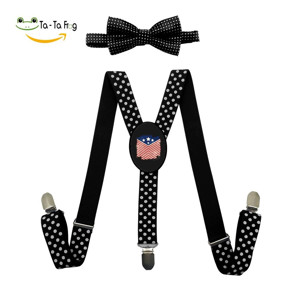 Grrry Kids American Flag of 4th of July Adjustable Y-Back Suspender+Bow Tie