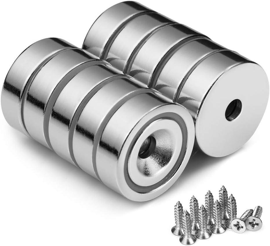 10 St/ück BTLIN Neodym Magnete mit Loch Topfmagnet Nyodym Magnete mit Senkkopf und Schrauben 22LB Haftkraft