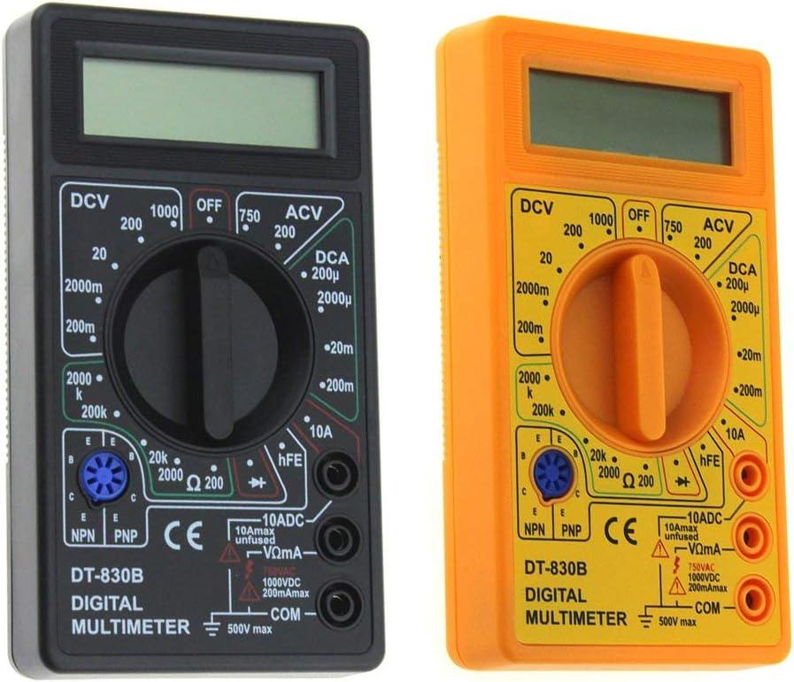 Garciasia DT-830B Mult/ímetro Digital de Bolsillo Mini 1999 Cuenta AC//DC Voltio Amp Ohm Diodo Probador hFE Amper/ímetro Volt/ímetro Ohm/ímetro Color: Amarillo