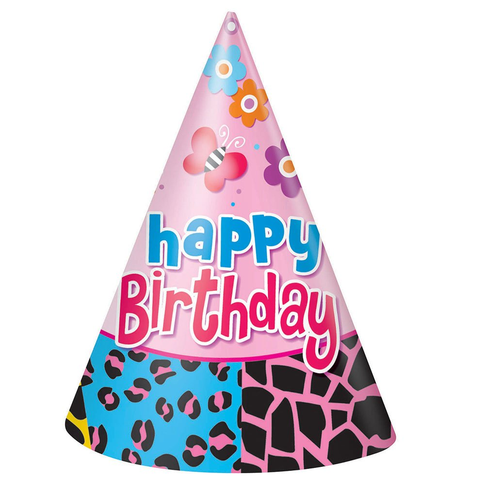 8ct Wild Birthday Party Hats