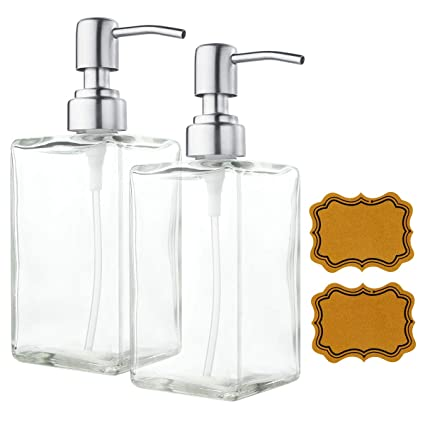 VCOO 2 Pack Soap Dispenser Bottle Stainless Steel Pump, Refillable  Rectangle Clear Glass Jar,
