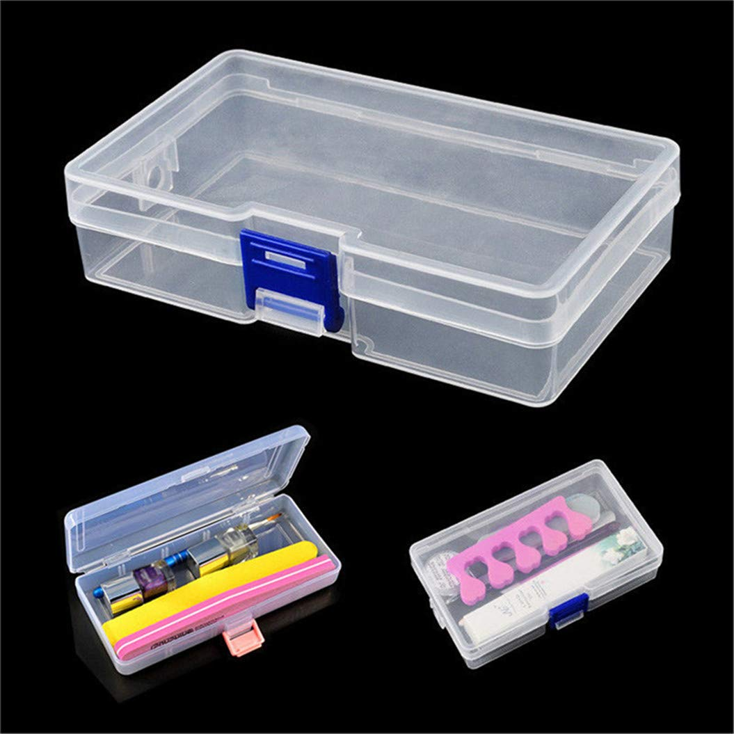 LZIYAN Rectangular Nail Storage Box Clear Transparent Nail Art Beads Organizer Display Box Container For Jewelry Rings,Blue buckle by LZIYAN (Image #6)