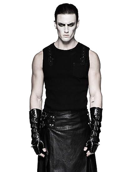 a6dc78b50c7ac Punk Rave Black Gothic Leather Rivet Long Fingerless Gloves for Men   Amazon.co.uk  Clothing