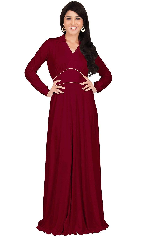 ab56b30072917 KOH KOH Womens Long Sleeve V-Neck Flowy Semi Formal Elegant Gown Maxi Dress