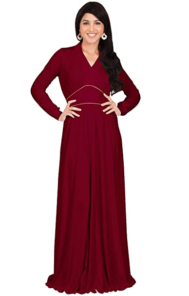 345480d2b62aac KOH KOH Womens Long Sleeve V-Neck Flowy Semi Formal Elegant Gown Maxi Dress  at Amazon Women s Clothing store