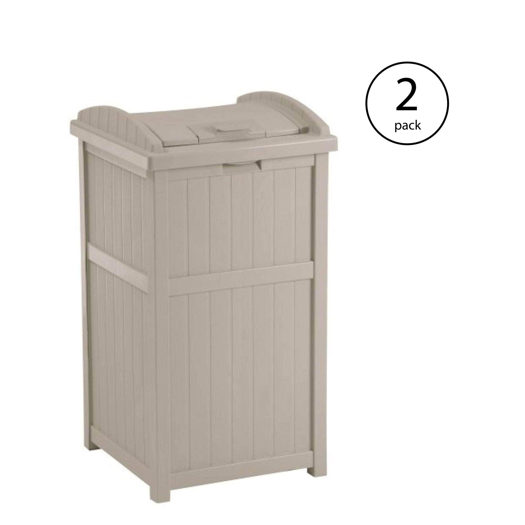 Suncast 30-33 Gallon Deck Patio Resin Garbage Trash Can Hideaway, Taupe (2 Pack) by Suncast