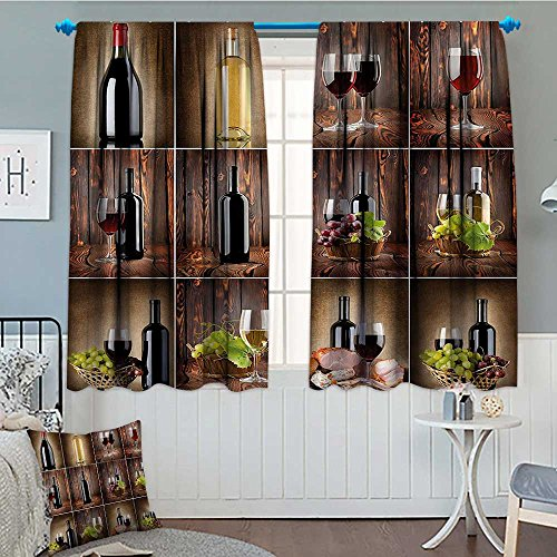 SeptSonne-Home Wine Window Curtain Drape Wine Themed Collage on Wooden Backdrop with Grapes and Meat Rustic Country Drink Decorative Curtains for Living Room 52