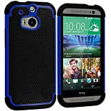 Warrior Wireless (TM) Black / Blue Hybrid Rugged Hard/Soft Case Cover for HTC One M8 + Bundle = (ITEM + CELLPHONE STAND) - By TheTargetBuys