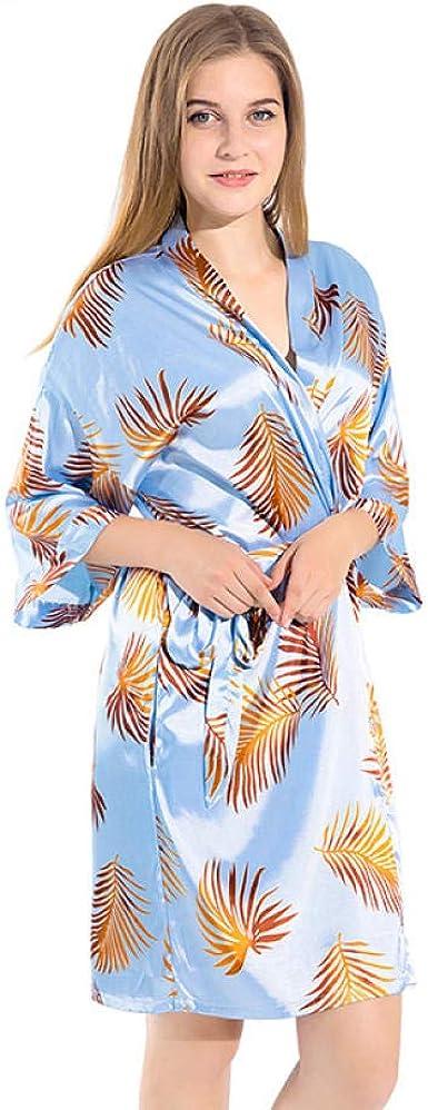 Mini Ropa de Dormir Sexy Estampado Bata de rayón Azul Pijamas ...