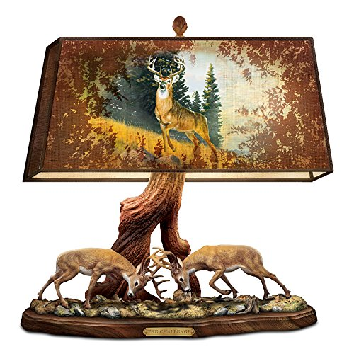 The Wilderness Challenge Sculptural Deer Lamp with Al Agnew Art on Fabric Shade by The Bradford Exchange ()