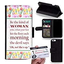 """Case88 [Apple iPhone 6 / 6s Plus (5.5"""")] Flip Case with Stand/Credit Card Holder/Magnetic Closure - Be the kind of woman quote DSE0211"""