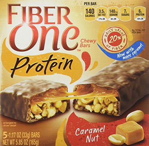 Fiber One, Protein, Chewy Bars, Caramel Nut , 5.85oz Box (Pack of 4)