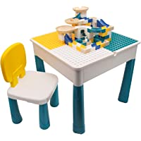Jollyfit Kids Activity Table and chair set, Toddler Play Table Set with Storage, Sand Table and Water Table with 90 Pcs…