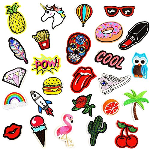 Bowisheet Iron On Patches 26 Pcs Embroidered Motif Applique Assorted Size Decoration Sew On Patches for DIY Jeans Jacket, Clothing, Handbag, Shoes,Caps