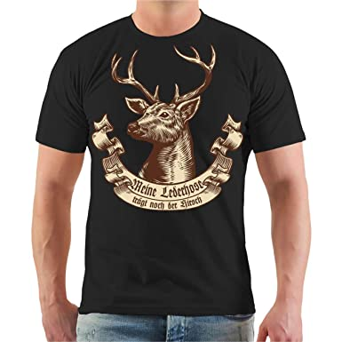 a08d2d2703037f Männer und Herren T-Shirt Meine Lederhose trägt noch der Hirsch Größe S -  8XL