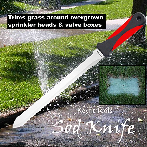 KEYFIT Tools SOD Knife Stainless Steel Blade Sod Cutter Trim New sod Around Landscape Edging beds & Sunken, Overgrown Sprinkler Heads Like Hunter PGP Raise Repair Adjust Remove Sprinkler Guard