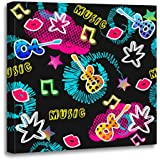 Emvency Canvas Wall Art Print Abstract for Girls Boys Creative with Dots Guitar Lips Star Funny and Colorful Bright Purple Pink Artwork for Home Decor 12 x 12 Inches