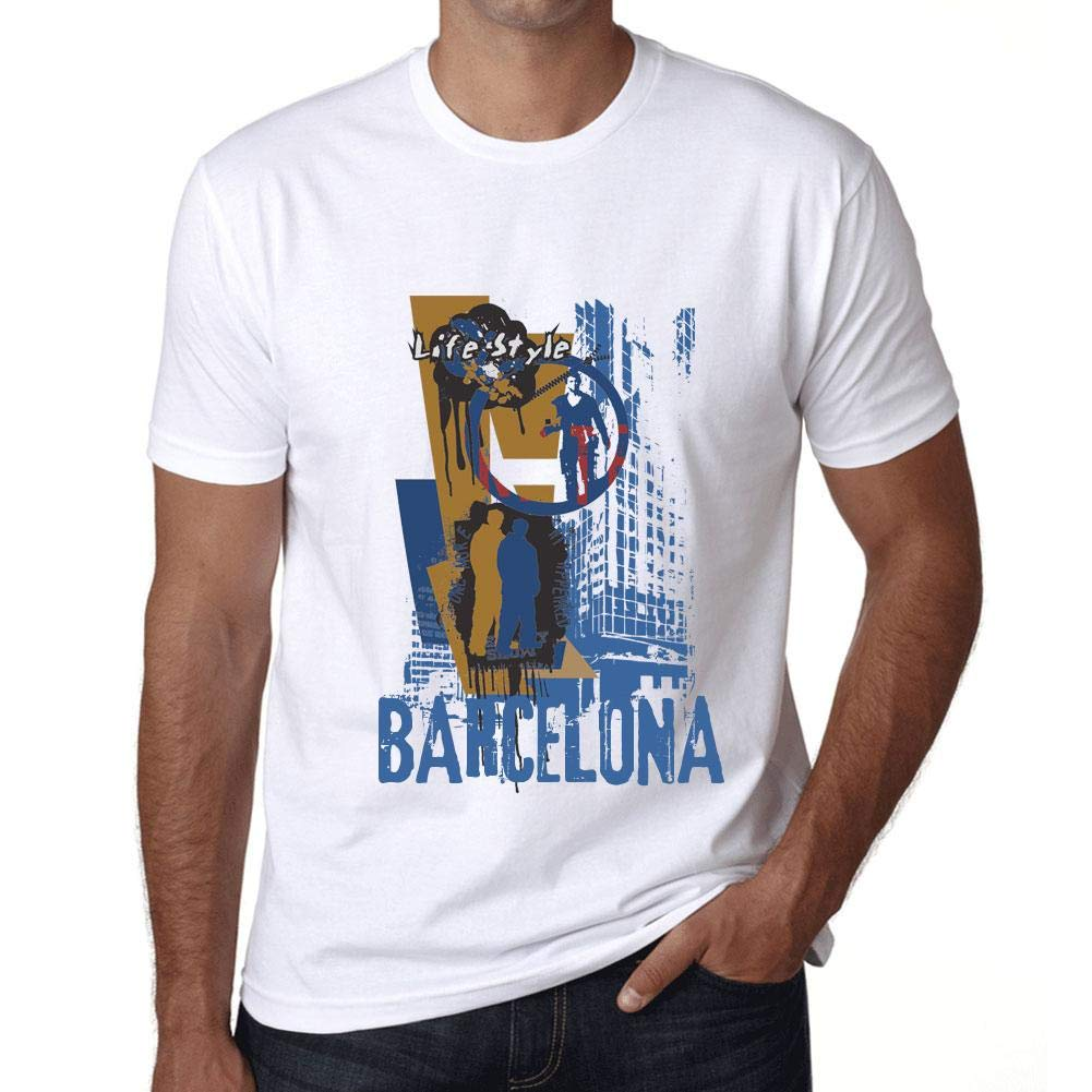 Hombre Camiseta Vintage T-Shirt Gráfico Barcelona Lifestyle Blanco ...