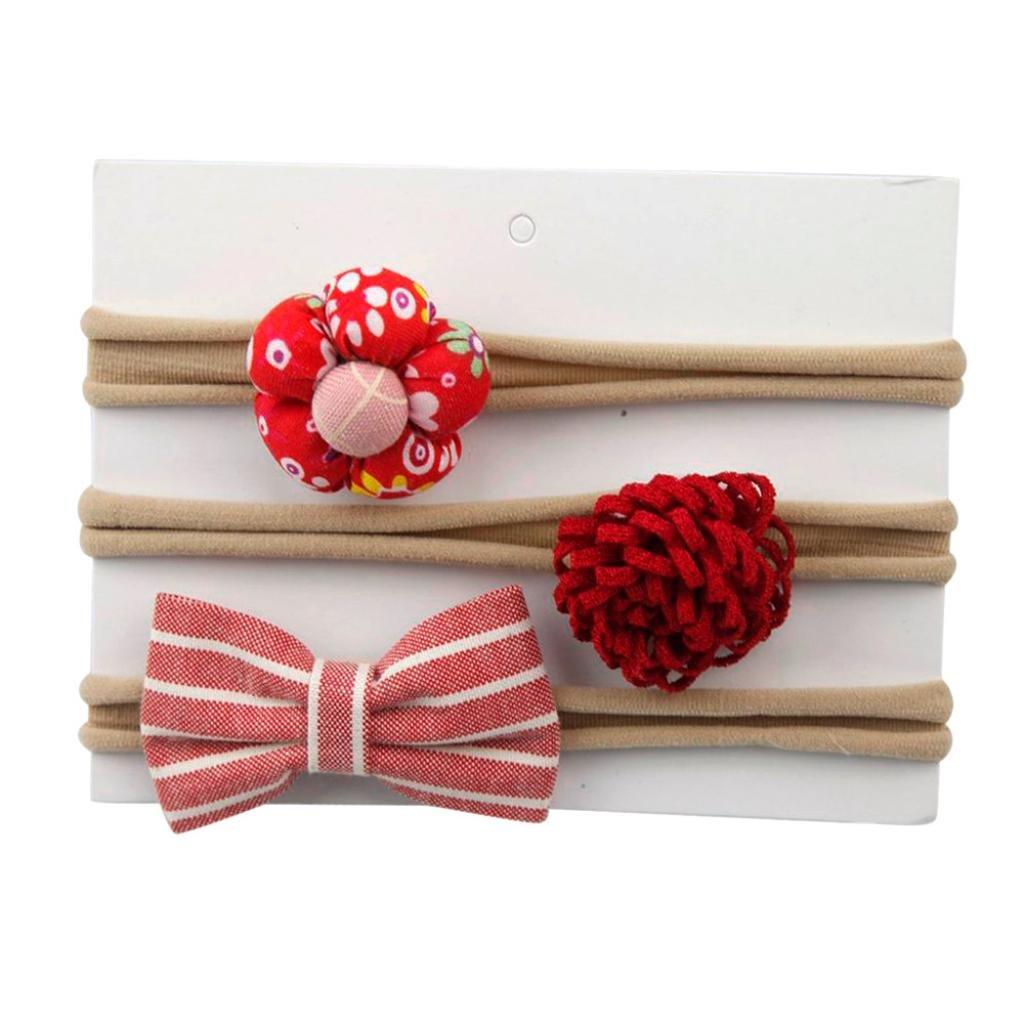Haarnadel erthome 3Pcs Kinder elastisches Blumen Stirnband Haar M/ädchen Baby Bowknot Haarband Set