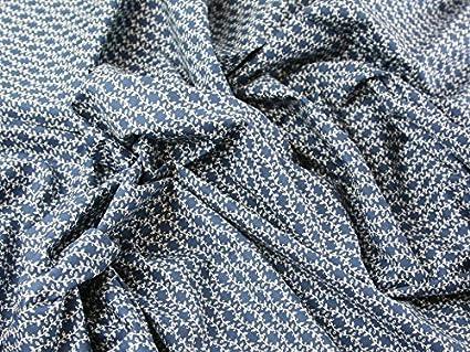 Arreglo Floral Print Algodón Popelín Vestido De Tejido Azul