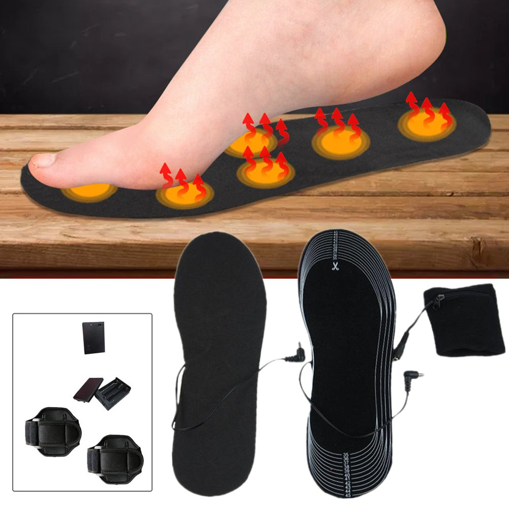 Heated Insole,Sundlight Cut-to-Fit 36-46 Multiple Sizes Unisex Flexible Rechargeable Heated Shoes Insoles Boot Warmer for Hunting Fishing Hiking Camping