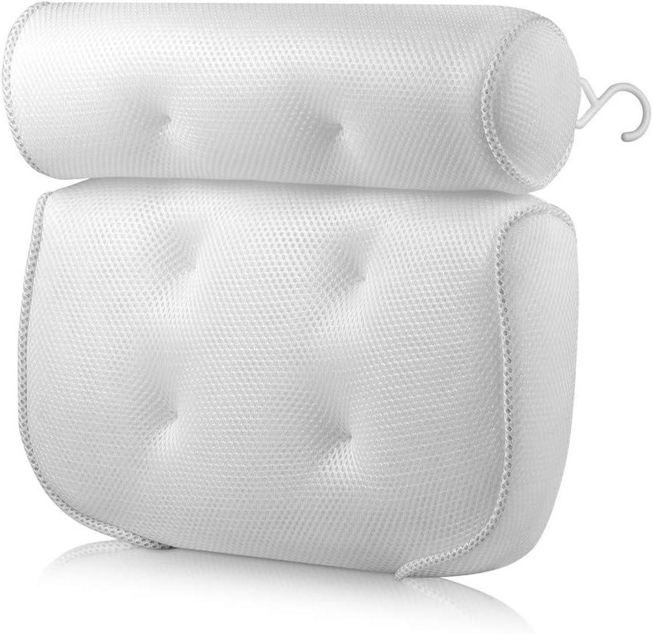 SOURBAN Mesh Bath Pillow with 6 Suction Cups Bathtub Spa Soft Cushion