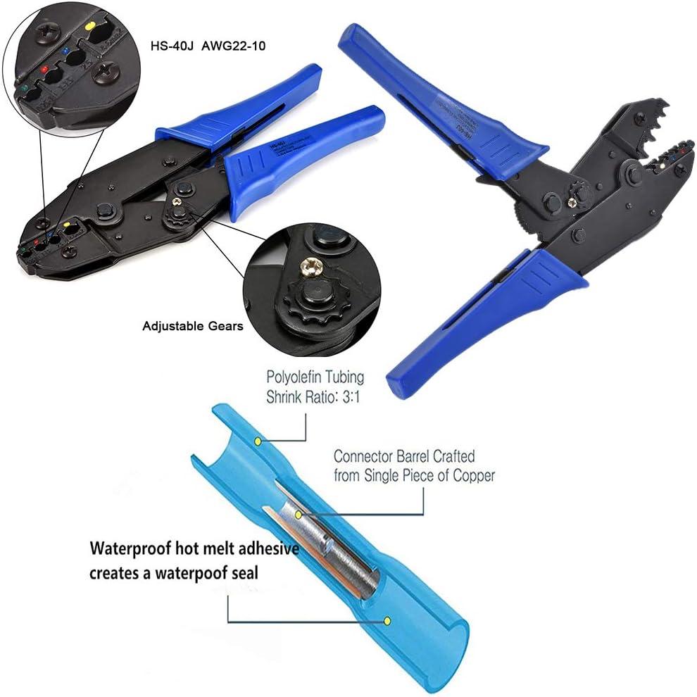 herramienta de Crimpado Para 0.5~6mm/² Terminal Lolypot Crimpadora Alicates de Terminales con 200 piezas termoencogible Terminales