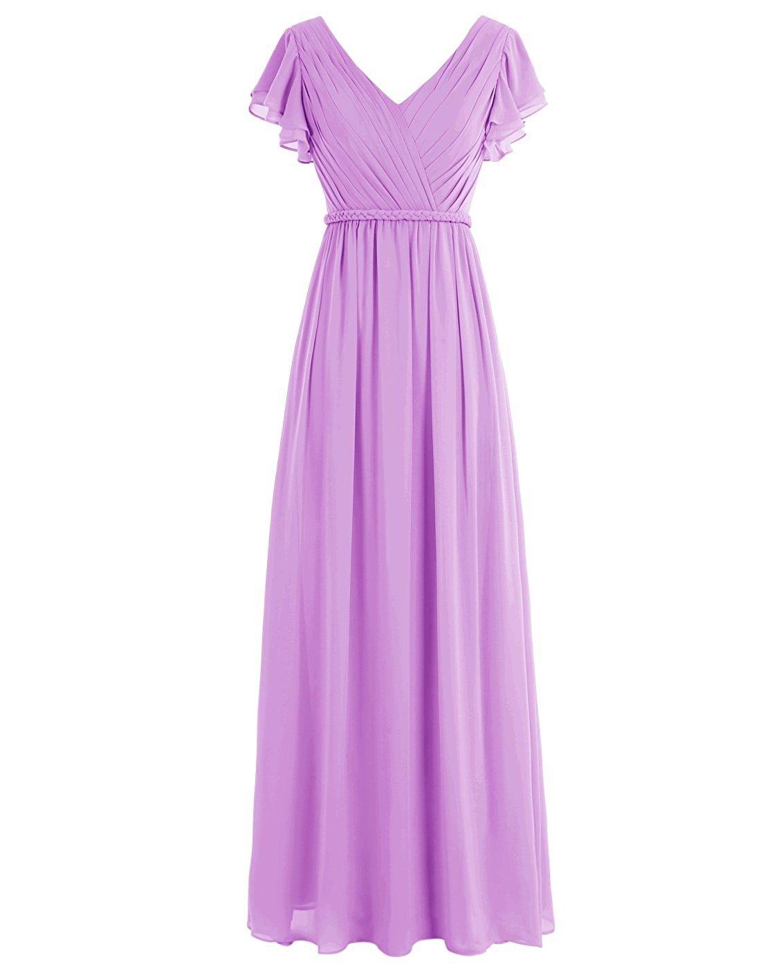 WenSai Women Pleated Long Bridesmaid Dresses Chiffon V Neck Cap Sleeves Lilac us17w