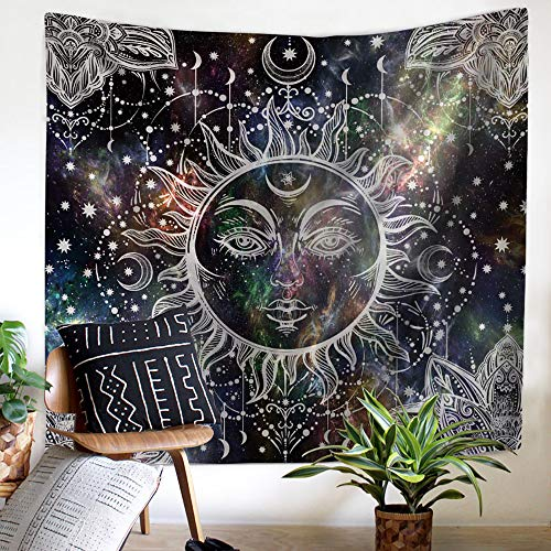 Nidoul Psychedelic Wall Tapestry, Boho Mandala Moon Tapestry Wall Hanging, Hippie Sun Forest Tapestry, Wall Art Decoration for Bedroom Living Room Dorm, Window Curtain Picnic Mat, 59