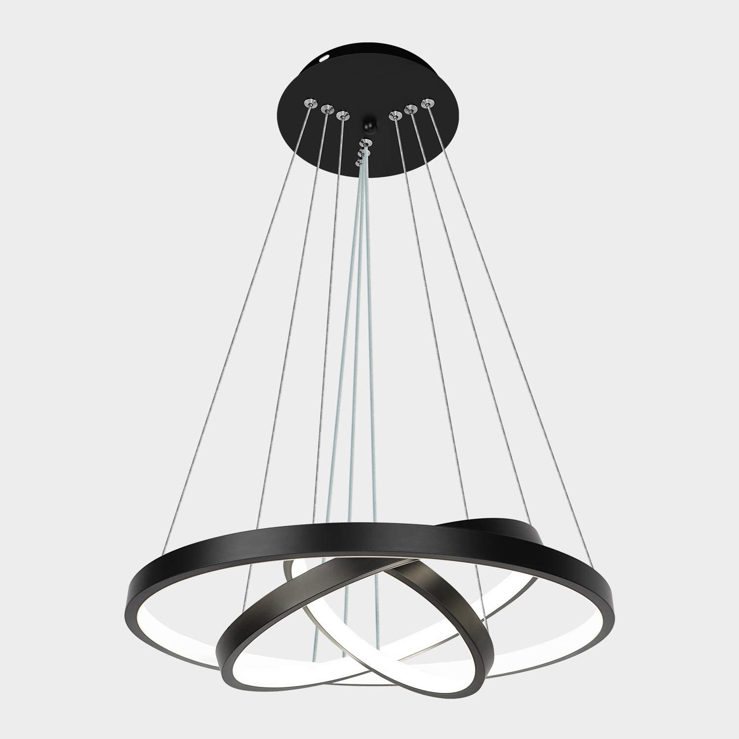 Amazon Com Modern Black Led Chandelier Adjustable Hanging Pendant Light Ceiling Light Fixtures For Living Room Dining Room Kitchen Bedroom Cold Light 16 Inches 6000k 56w Home Improvement