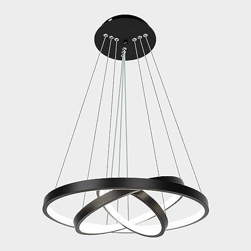 Modern Black LED Chandelier Adjustable Hanging Pendant Light Ceiling Light Fixtures