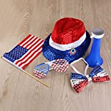 PBPBOX 4th of July Party Set Holiday Decorations with Red, White & Blue Hat, Bow Tie, Shutter Glasses, a Flag and a Horn