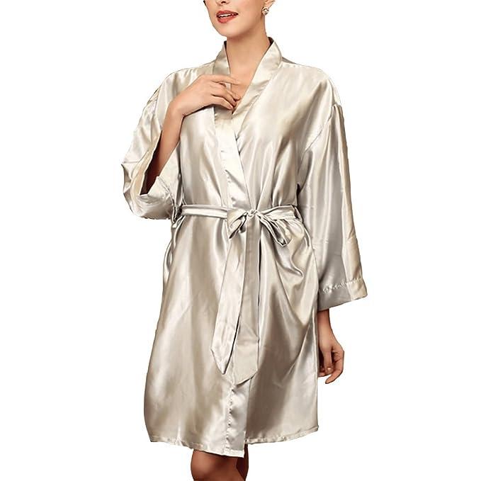 SYGoodBUY Bata Batas de Noche de Satén Sexy Mujer de Pijama Bata de Baño Talla única
