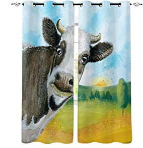 wanxinfu 2 Panel Kitchen Cafe Curtains, Funny Cattle in The Farm   Sunlight Filtering Nature Air Through, Home Decor Window Covering Tier Curtains for Bedroom Living Room 55W x 39L inch