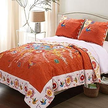 Amazon Com Plow Amp Hearth King Ansley Folk Art Quilt Set