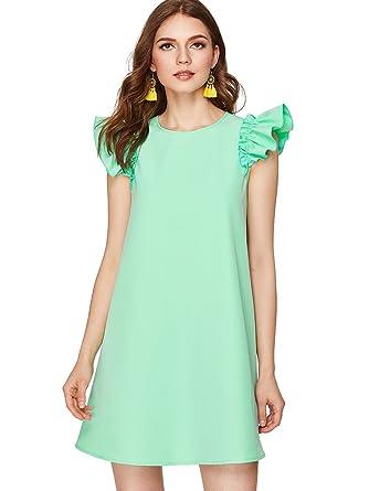 8e8fe20abfada1 Romwe Women's Ruffle Trim Sleeve Summer Beach A Line Loose Swing Dress  Green XS