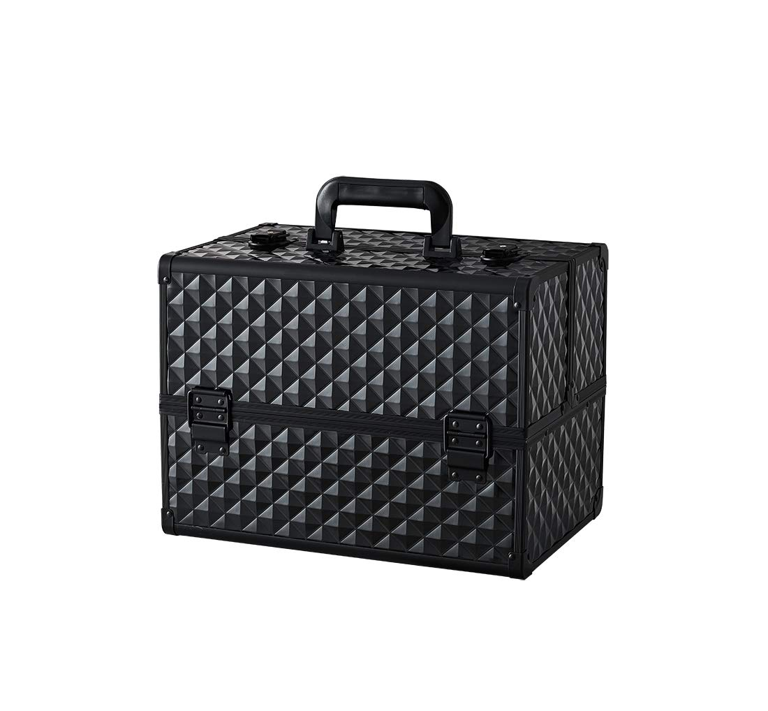 Makeup Case - Professional Portable Aluminum Cosmetics Storage Box With Locks and Folding Trays Black by NHSM