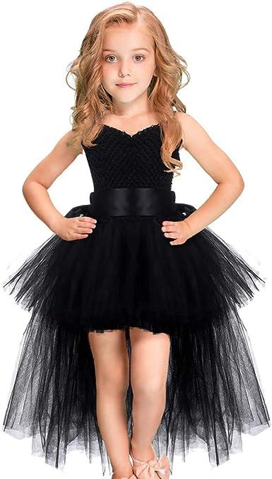 Vestido De Tutú Para Niñas Con Tren Hecho A Mano Cuello En V Tul Para Noche Boda Cumpleaños Fiesta Para Niños Clothing