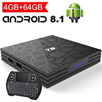 Android 8.1 TV Box with 4GB RAM 64GB ROM,EASYTONE T9 Android Boxes Quad- Core 64 Bits Support BT4.1/ H.265/ 3D /5G WiFi/USB 3.0/ UHD 4K Smart TV Box with Remote Keyboard [2019 Version]