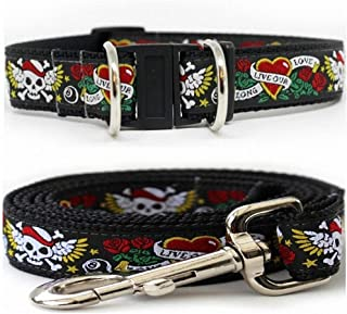 "product image for Diva-Dog 'Wild One' Medium & Large Dog 1"" Wide Collar with Safety Buckle, Matching Leash Available - M/L, XL"