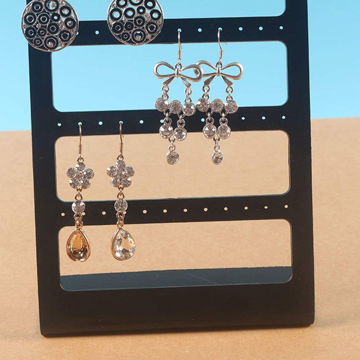 camellia/® 1pcs 48 Trous Boucles doreille Goujons Porte-pr/ésentoir Stand vitrine en Plastique Bijoux Organisateur Rack Plat Support de Boucle doreille Noir
