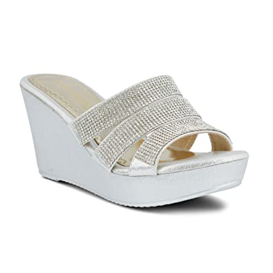 Patrizia Women's Cinderella Wedge Sandal,Silver Synthetic,EU ...