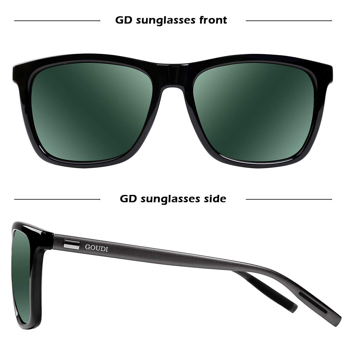 dc21e9c51b6 Polarized Wayfarer Sunglasses For Men -GOUDI Vintage Men Women Sunglasses Al -Mg Metal Frame