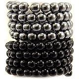 Les Trésors De Lily [L1600] - Set de 2 bagues 'Perla' gris noir