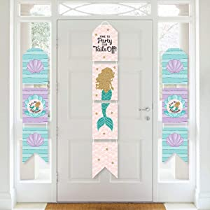 Big Dot of Happiness Let's Be Mermaids - Hanging Vertical Paper Door Banners - Baby Shower or Birthday Party Wall Decoration Kit - Indoor Door Decor