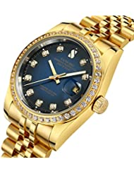 Gosasa Blue Dial Diamonds Mens Gold Stainless Steel Band Automatic Mechanical Watches