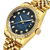Gosasa Blue Dial Diamonds Men's Gold Stainless Steel Band Automatic Mechanical Watches