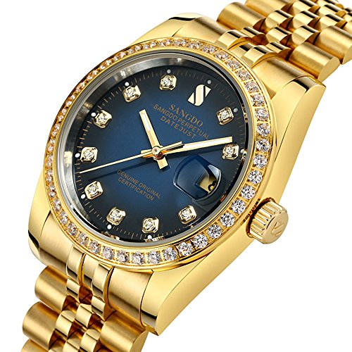 Gosasa Blue Dial Diamonds Men's Gold Stainless Steel Band Automatic Mechanical Watches ()